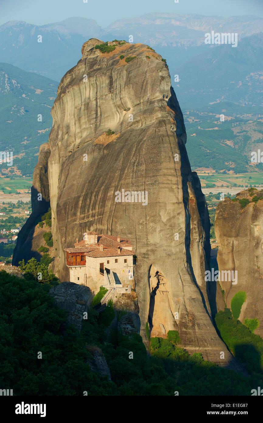 La Grèce, la Thessalie, Météores, monde de l'Unesco, le monastère de Roussanou Hertitage Photo Stock