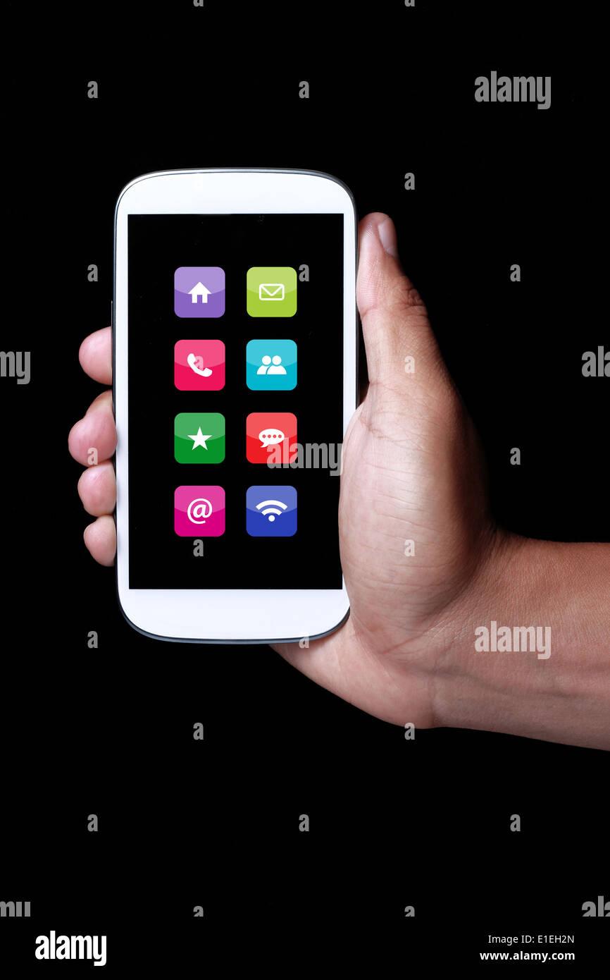 Icône Apps montrant sur smartphone Photo Stock