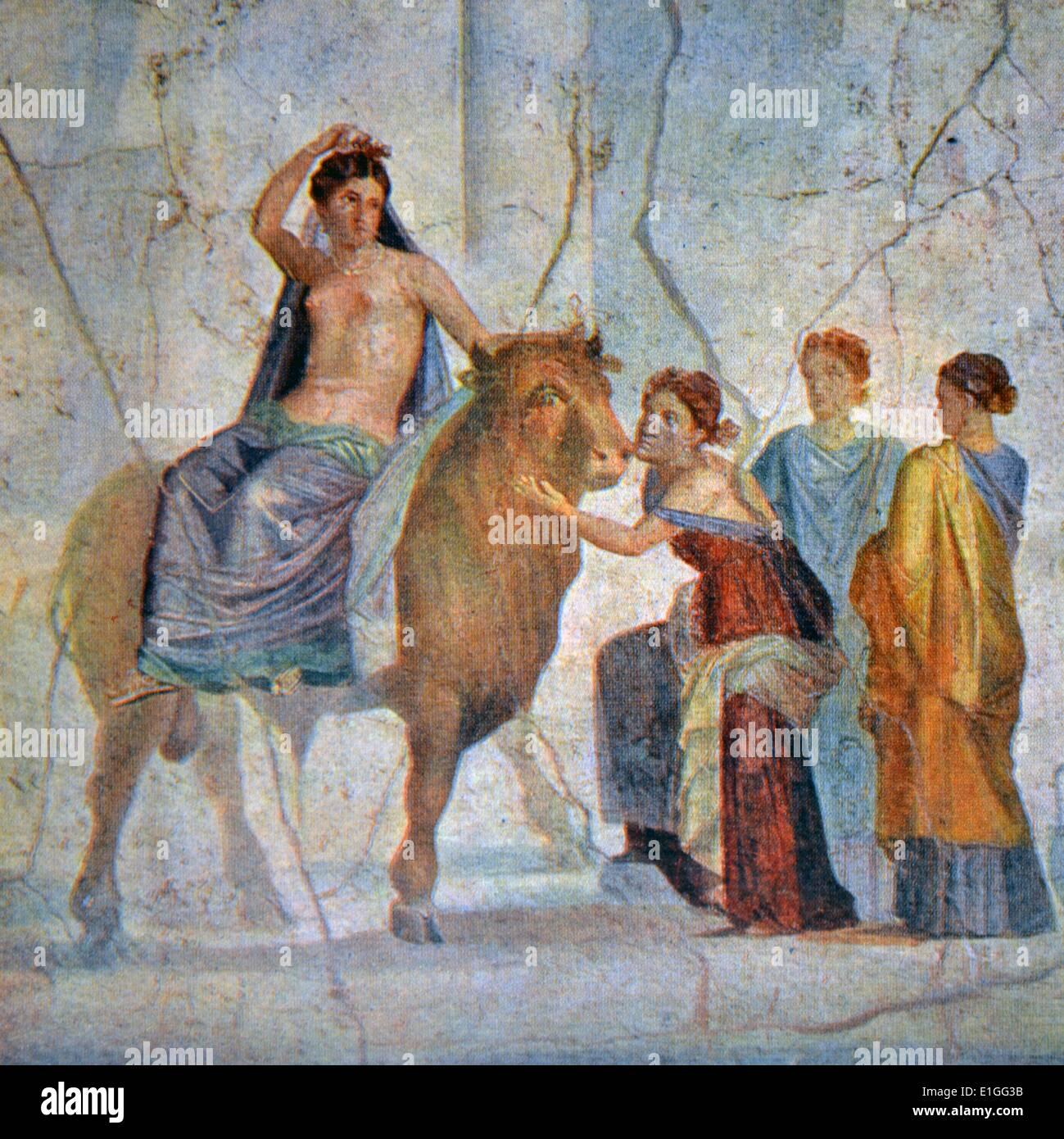 Fresco découvert à Pompéi. En date du début de l'A.D. Photo Stock