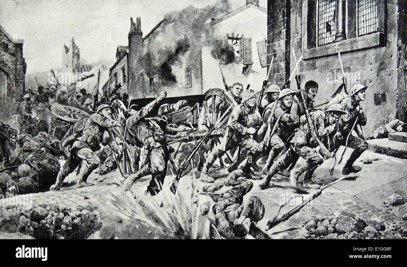 Illustration de l'héroïsme de l'dauntiless gardes britannique qui a sauvé la journée. Datée 1917 Photo Stock