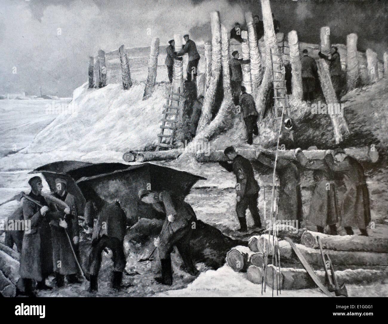 """La construction de routes par l'armée allemande en Russie par Gebhardt-westerbuchberg. Publié dans 'Die Kunst im deutschen Reich"""" (l'Art dans la Photo Stock"""