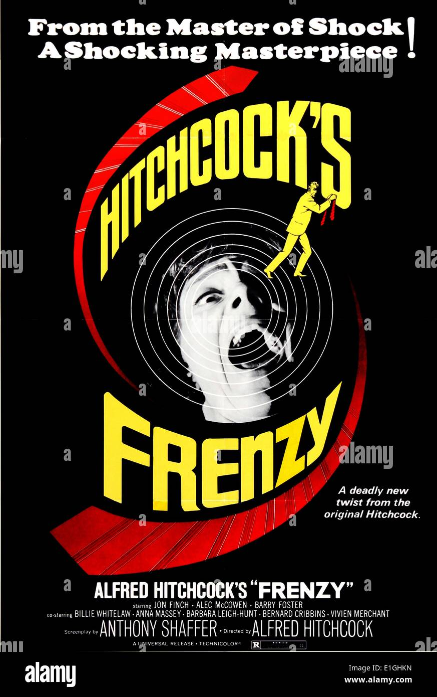 Hitchcock's 'Frenzy' un thriller britannique de 1972 avec Jon Finch. Photo Stock