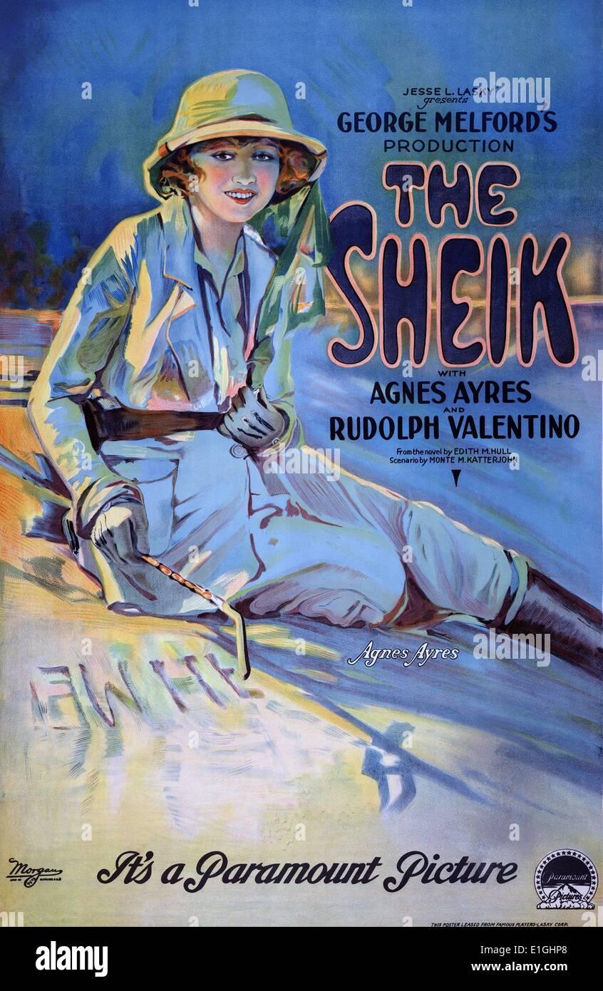 Le sheik avec Agnes Ayres et Rudolph Valentino, film de l'affiche. Photo Stock