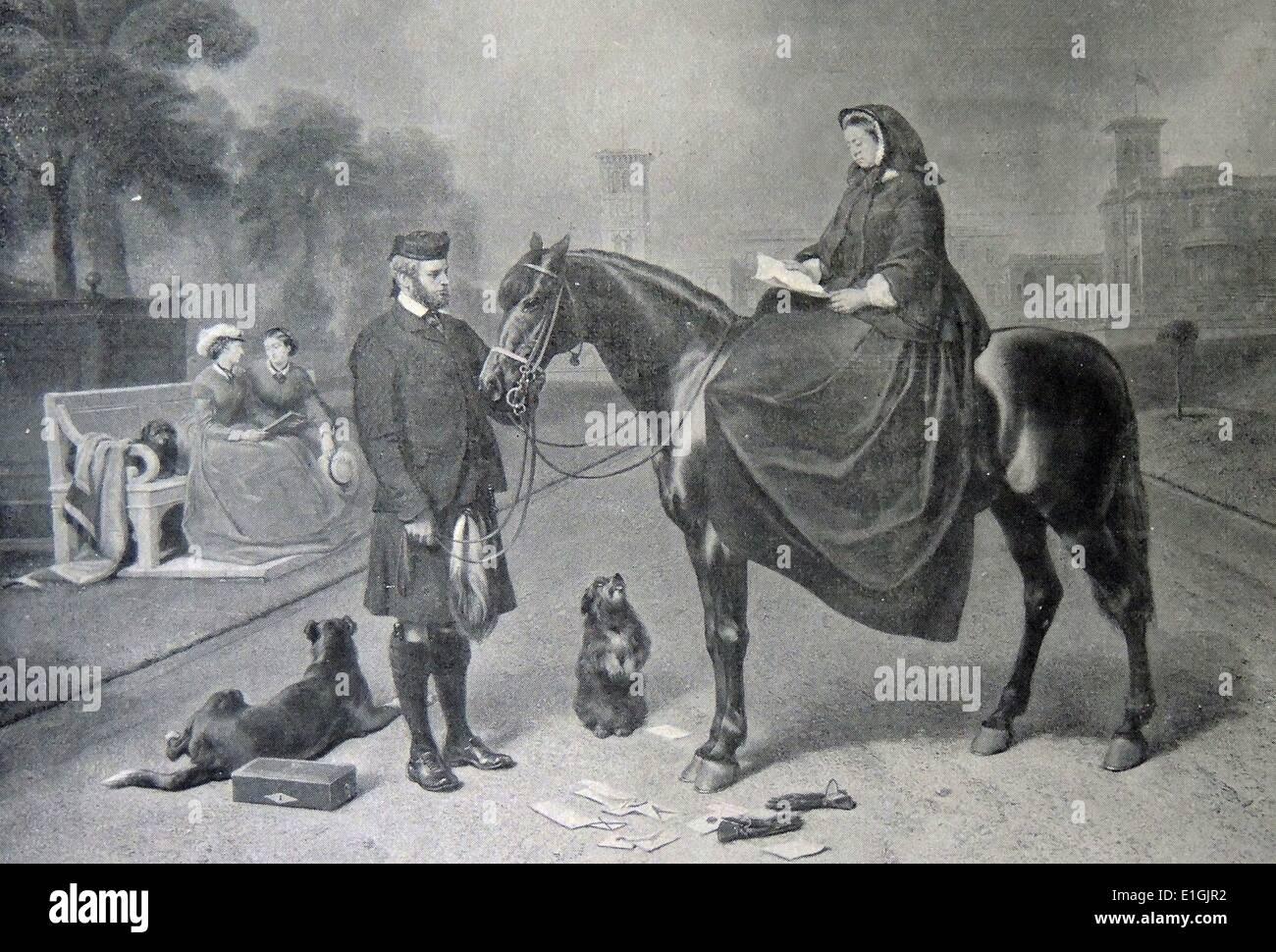 La Reine Victoria de Grande-Bretagne et John Brown à Balmoral, 1863 Photo Stock