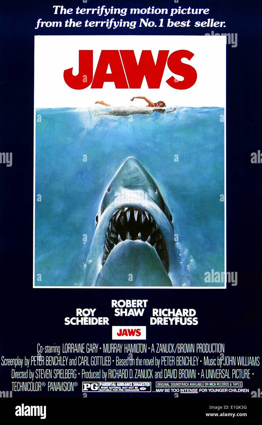 'Jaws' un film américain de 1975 avec Roy Scheider. Photo Stock