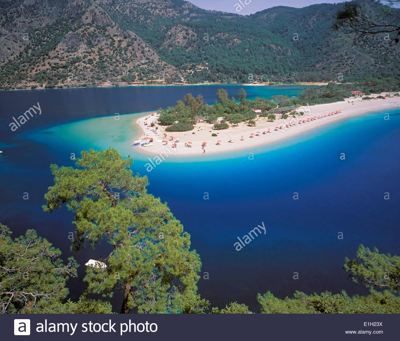 Vue sur le Lagon Bleu, Oludeniz, Anatolie, Turquie Photo Stock