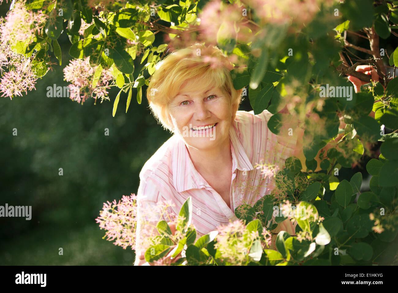 Joyeux animé optimiste Senior Woman parmi les fleurs Photo Stock