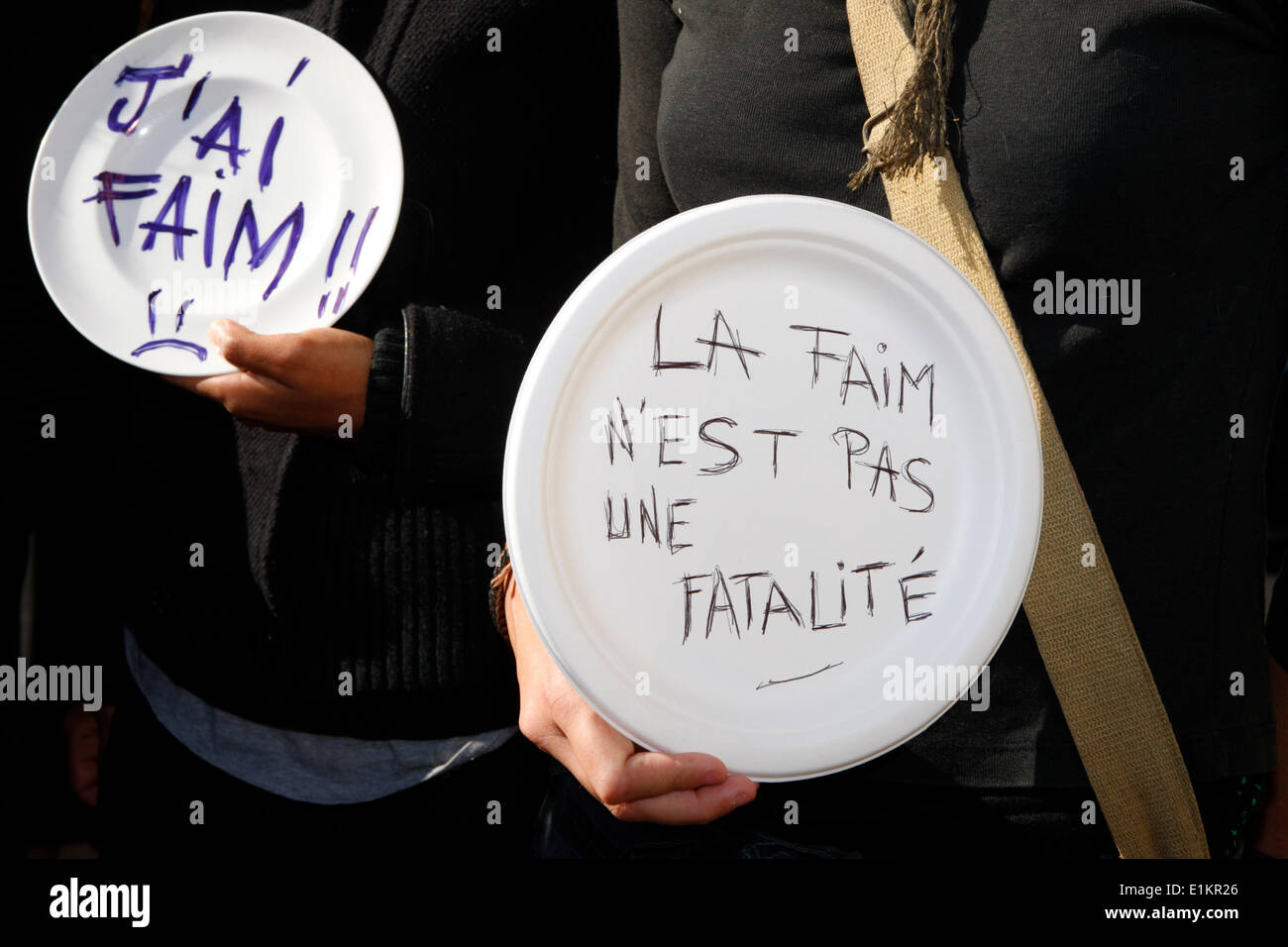 Manifestation contre la faim dans le monde avec l'ONG française CCFD. Photo Stock