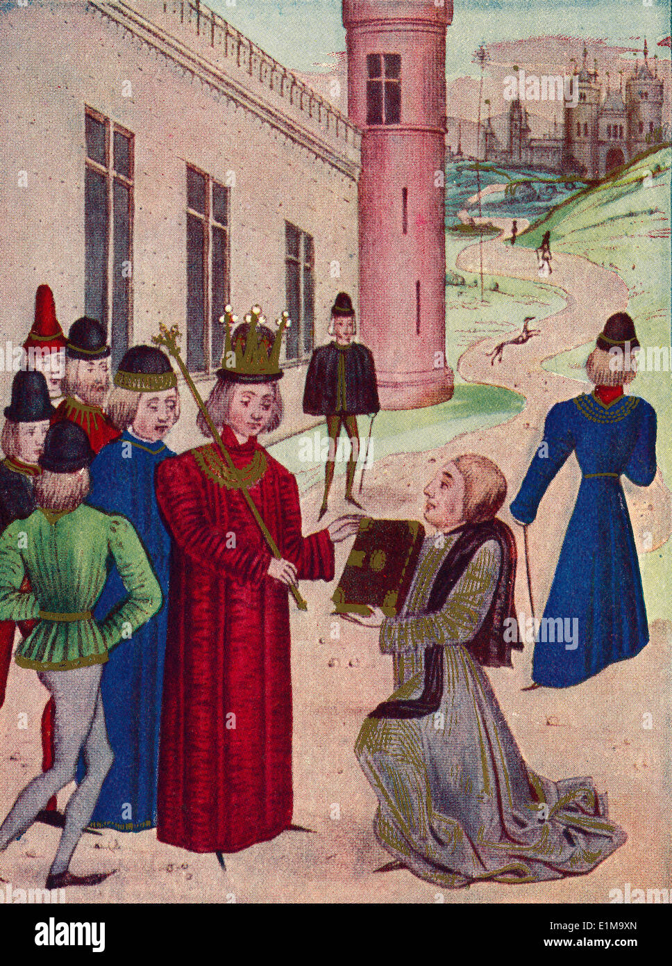 Sir John Froissart présente son livre de poèmes d'amour de Richard II en 1395. Banque D'Images