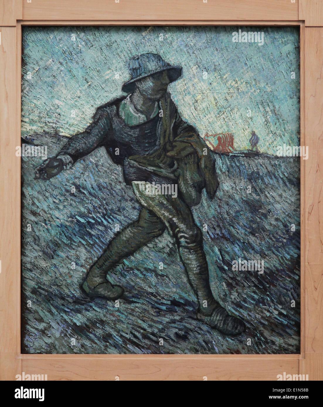 Vincent van Gogh.Le Semeur 1890.(après millet) 1853-1890 Photo Stock