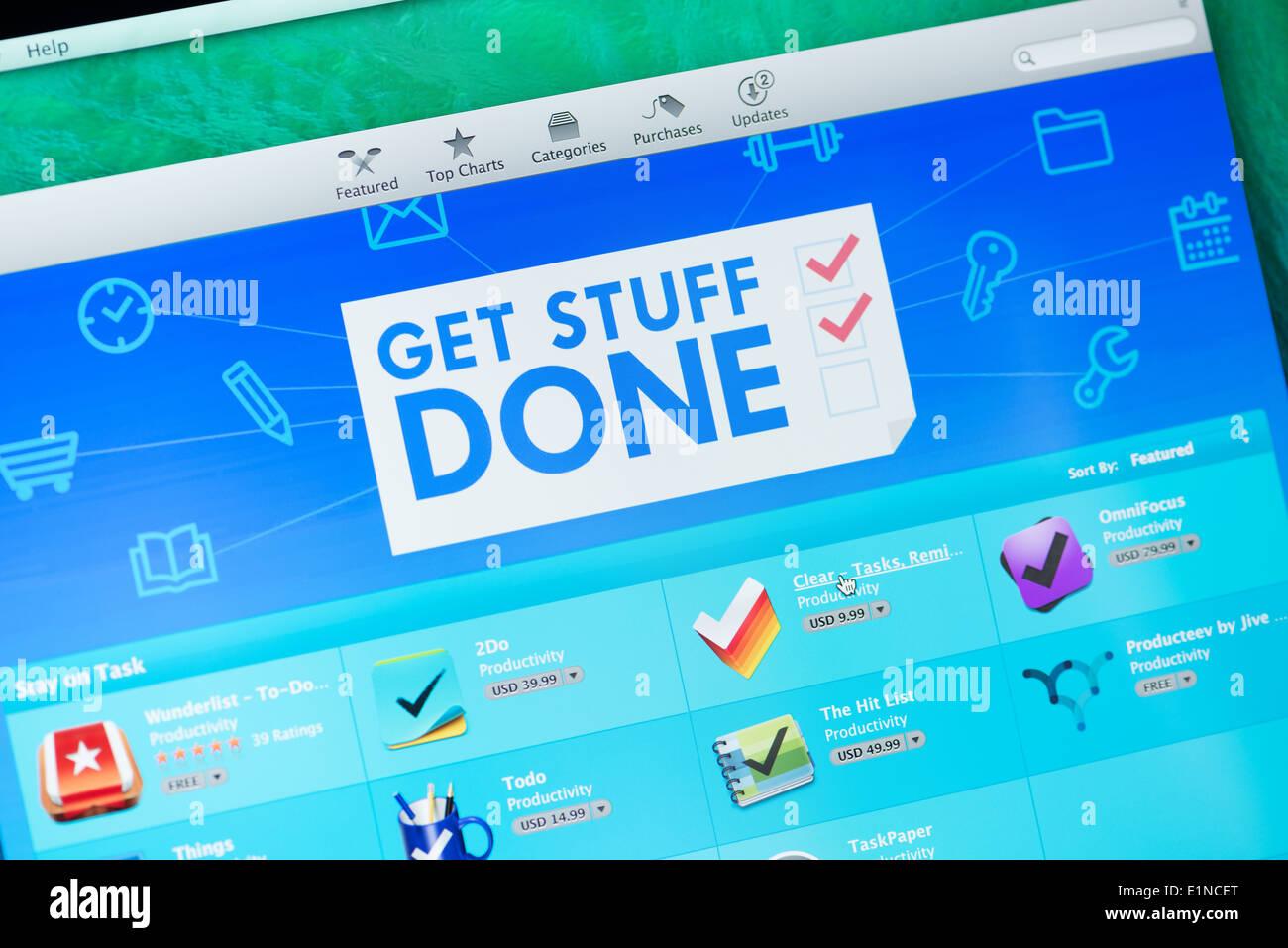 L'écran de l'App Store avec Get Stuff fait pour la collection d'applications de workflow de la productivité Photo Stock
