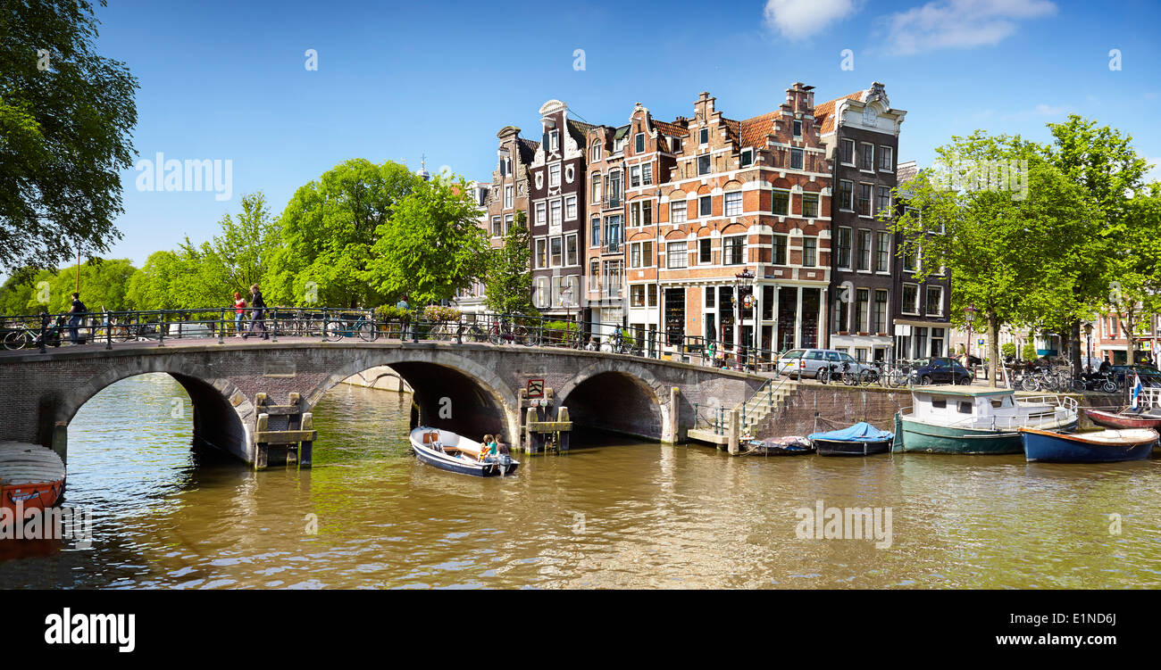 Amsterdam canal pont - Holland, Pays-Bas Photo Stock