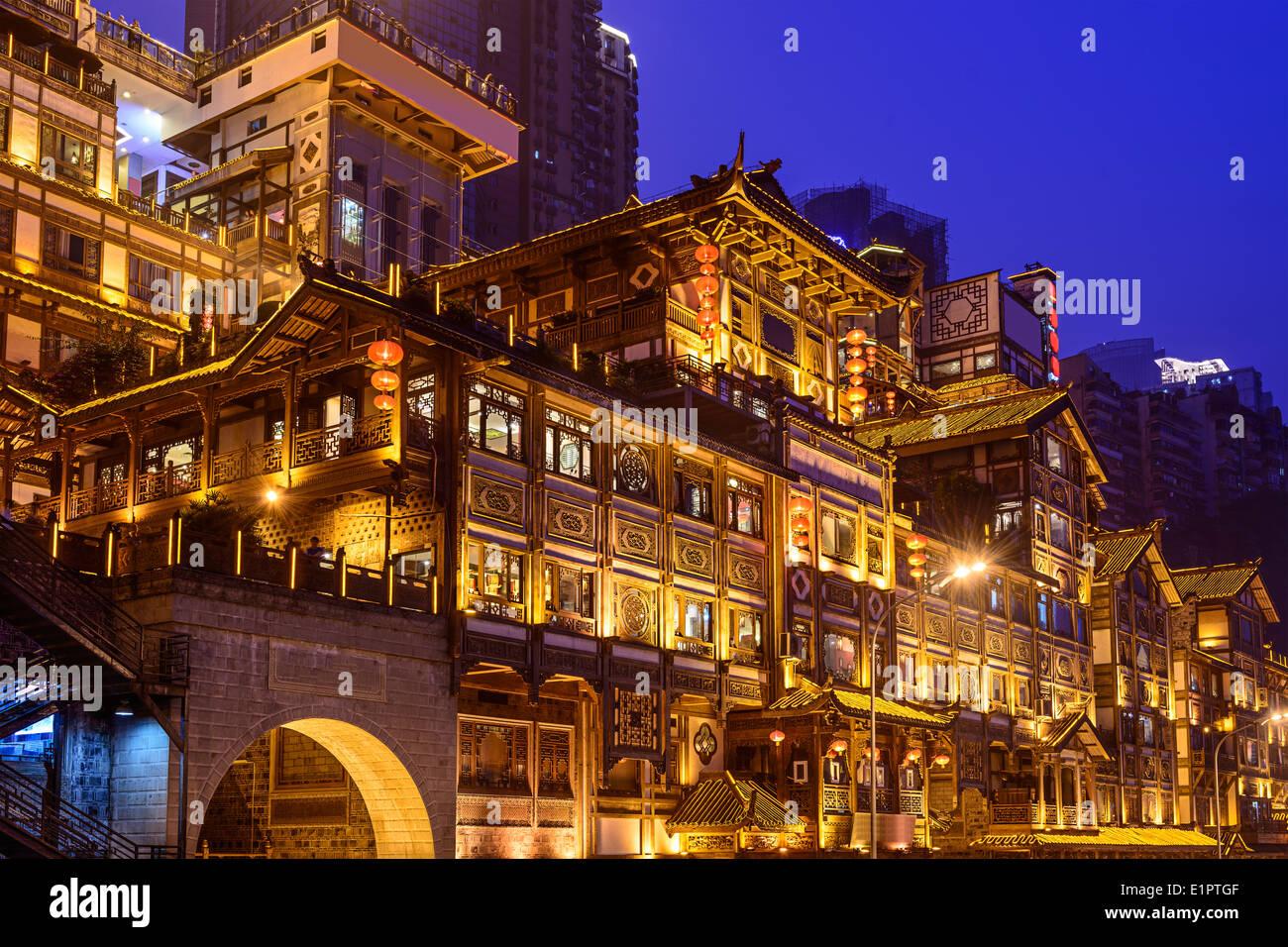 Chongqing, Chine à Hongyadong hillside bâtiments. Photo Stock