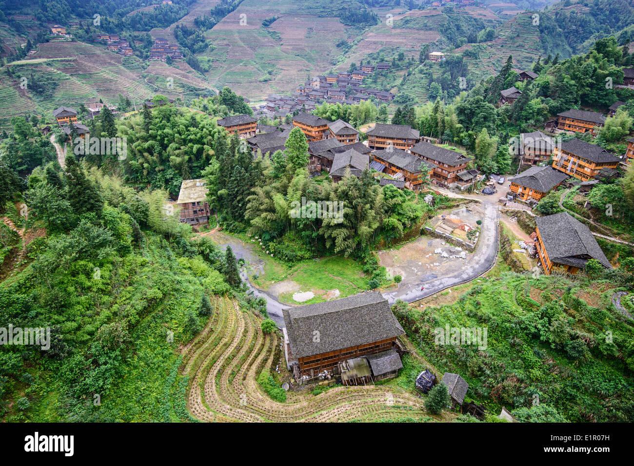 Longsheng village de Guangxi, Chine. Photo Stock