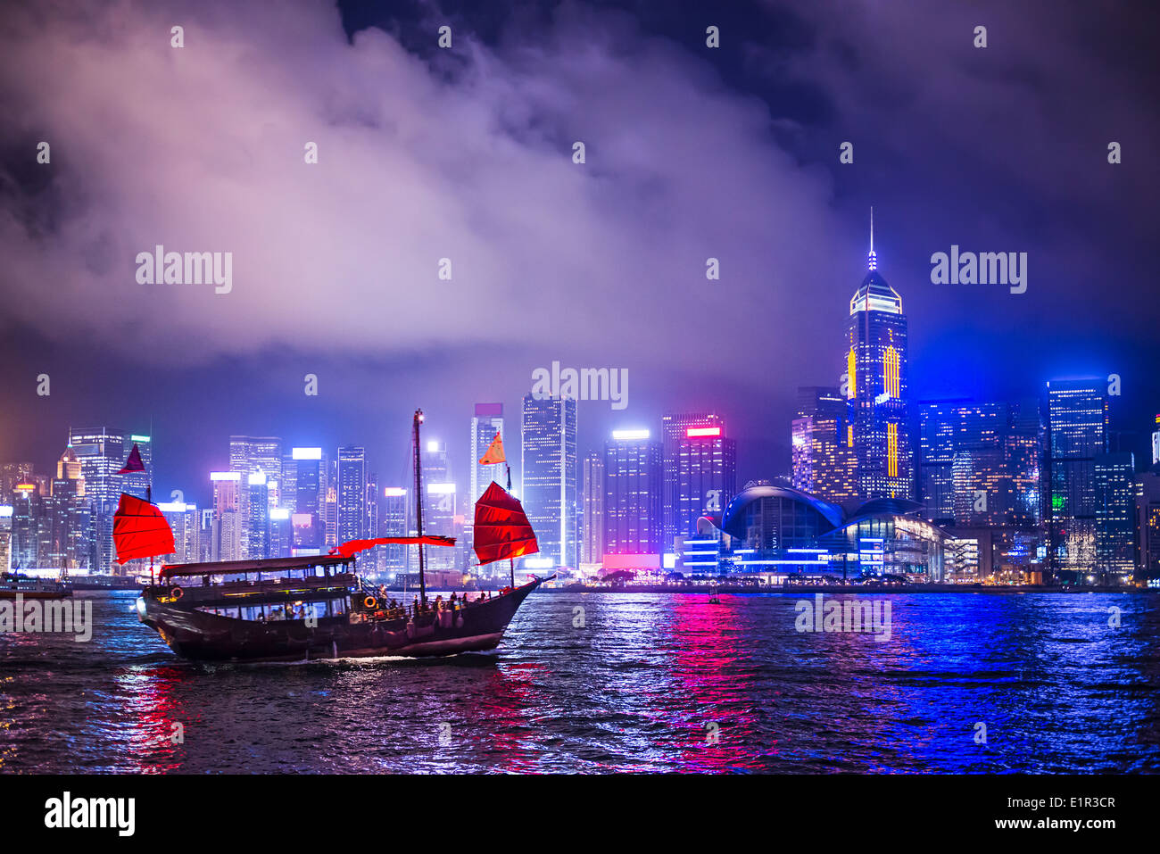 Hong Kong, Chine à Victoria Harbour. Photo Stock