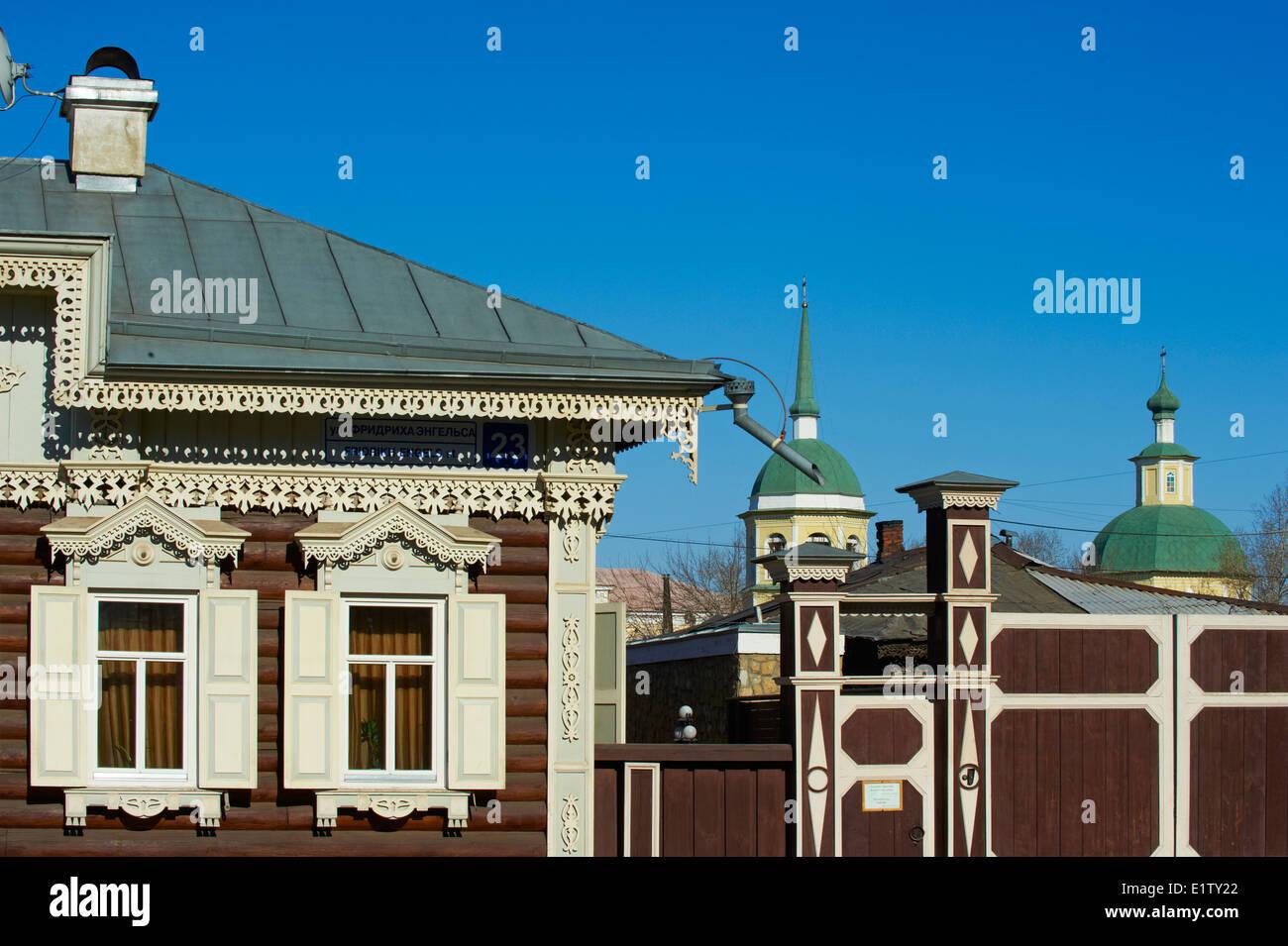 La Russie, en Sibérie, d'Irkoutsk, de l'architecture en bois, la Maison de l'Europe Photo Stock