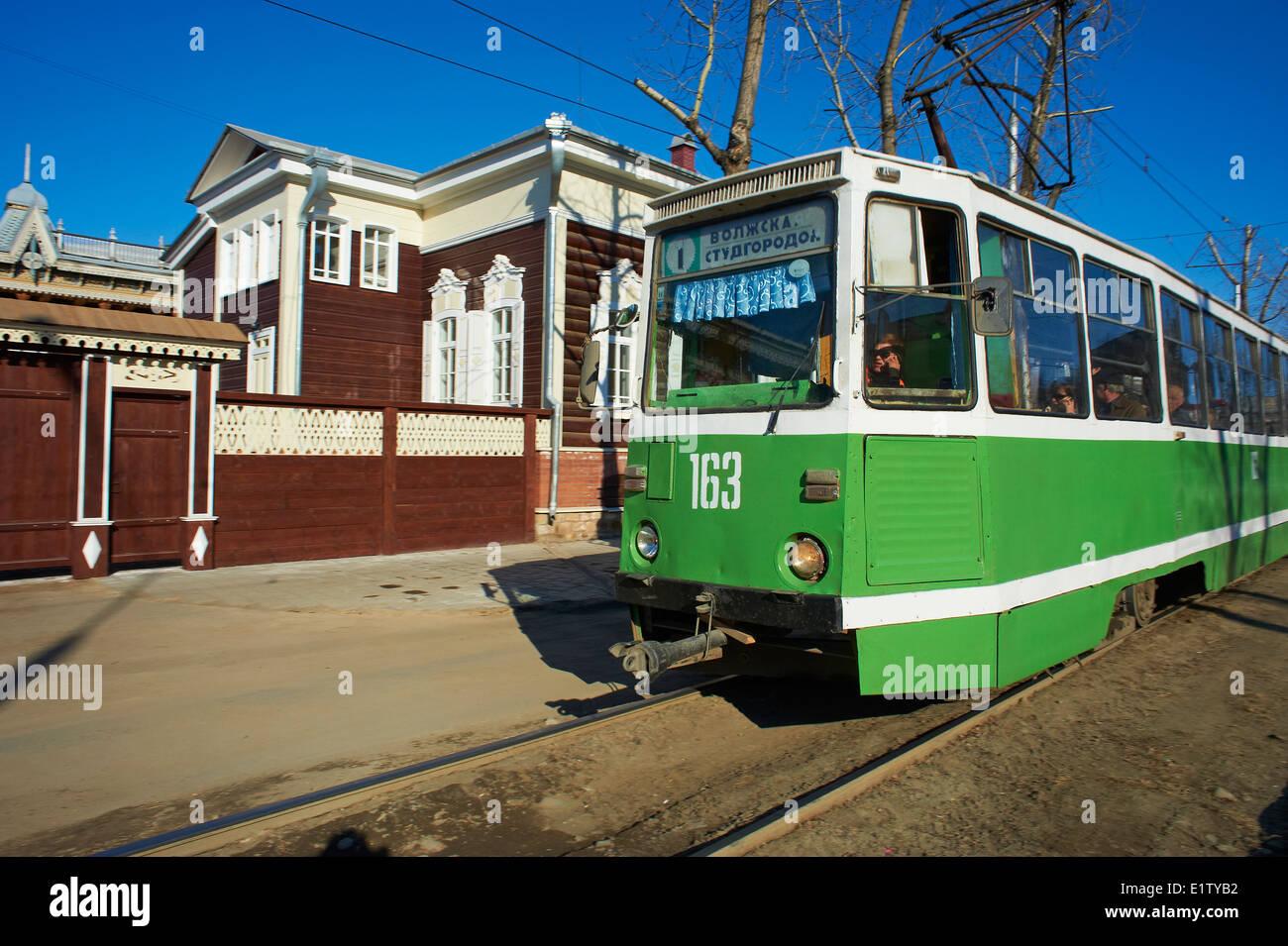 La Russie, Siberie, Irkoutsk, l'architecture en bois Photo Stock