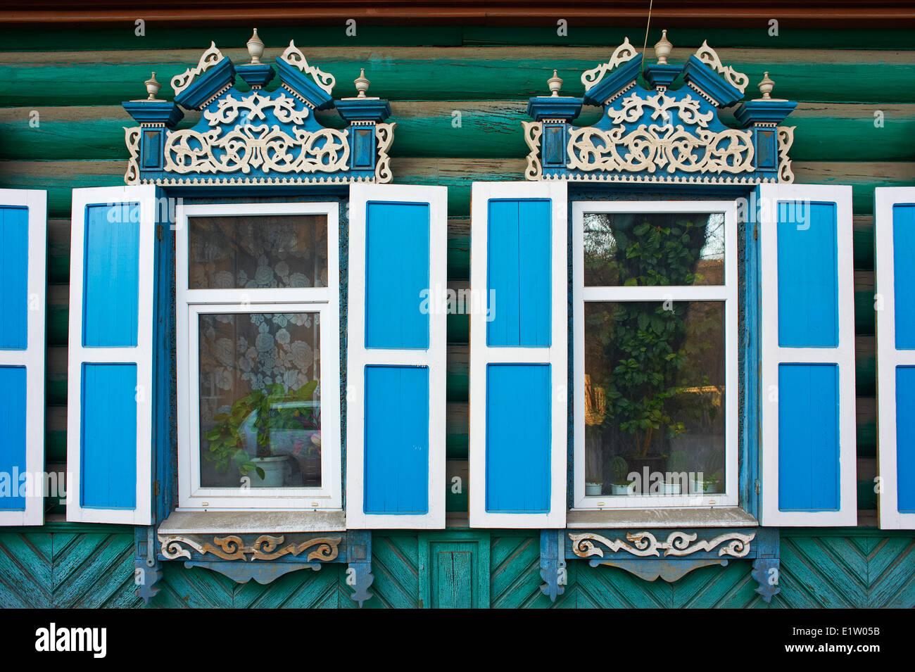 La Russie, en Sibérie, d'Irkoutsk, de l'architecture en bois Photo Stock