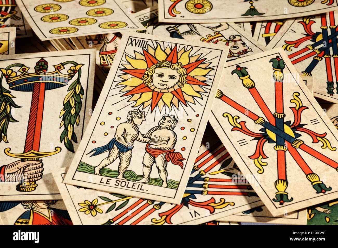 Vieilles cartes de tarot Photo Stock