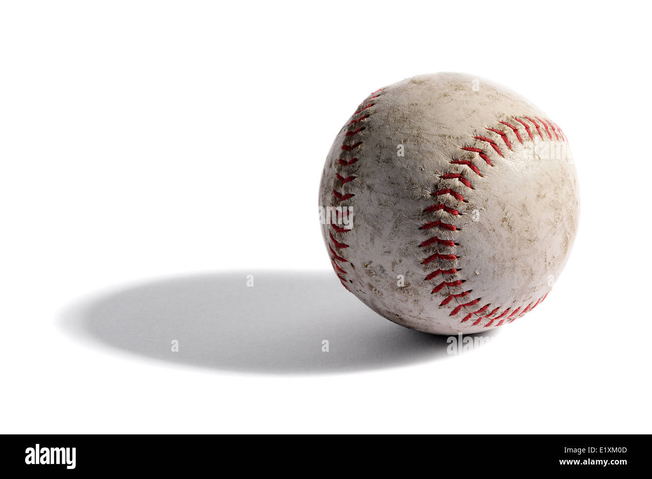 Le vieux cuir baseball Photo Stock