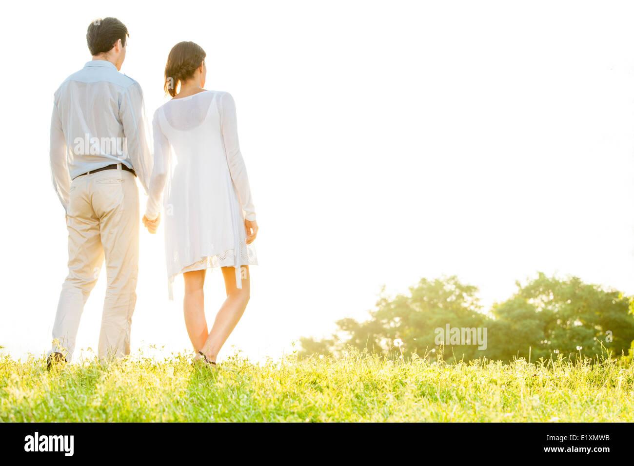 Vue arrière du jeune couple holding hands in park contre ciel clair Photo Stock