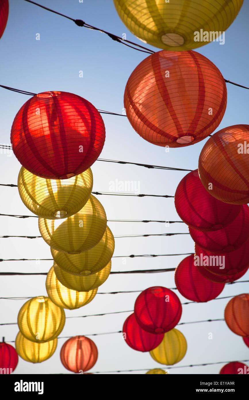 Lanternes au Théâtre du bambou de West Kowloon, Hong Kong, Kowloon Photo Stock