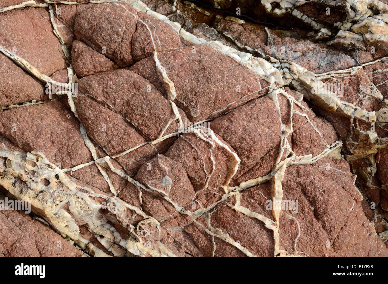 Les filons de quartz dans la Rhyolite roche volcanique ou granit Porphyre Cap Dramont Saint Raphaël ou Saint Photo Stock