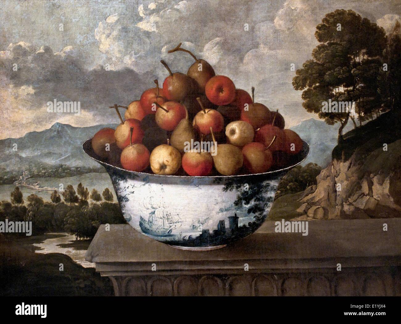 BODEGÓN CON CERÁMICA - Still Life with Ceramic Tomás Yepes o Yepes (Valencia) Espagne 1595 - 1674 Photo Stock