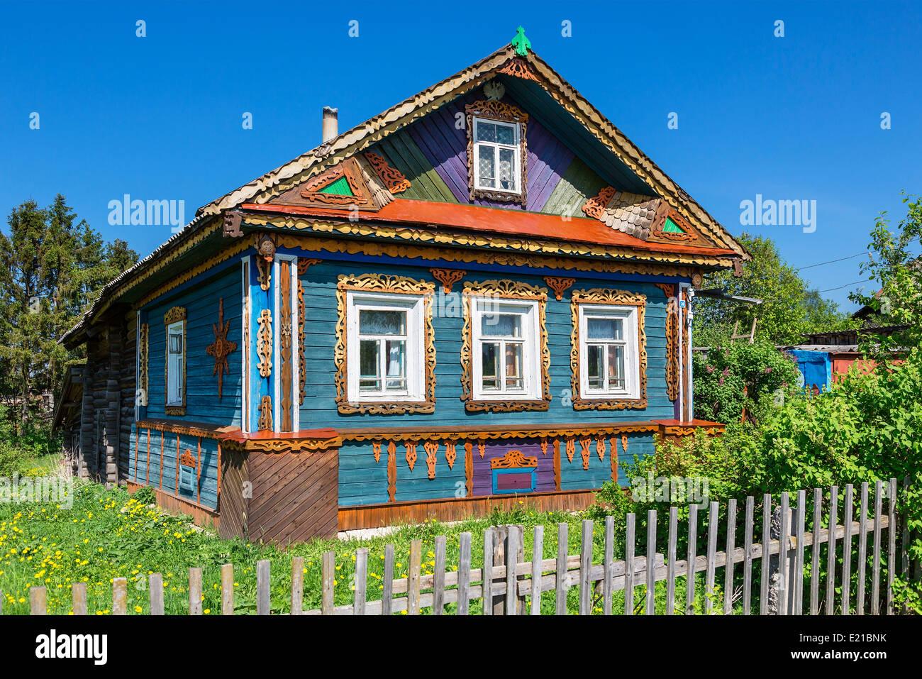 La Russie, maison traditionnelle à Goritsy Photo Stock