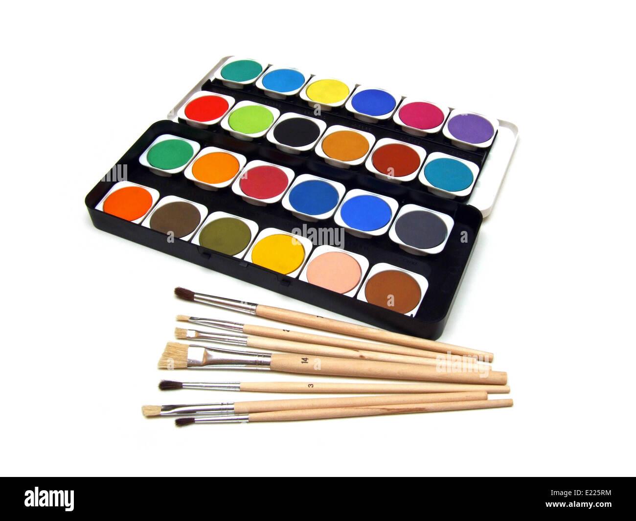 peinture et un pinceau Banque D'Images