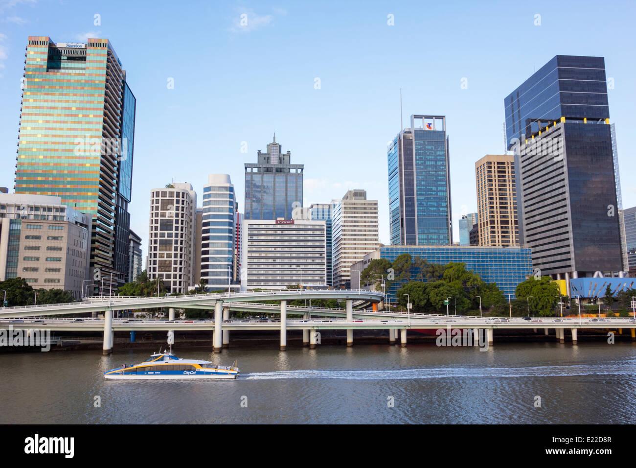 Australie, Queensland, Brisbane, Central, District, CBD, Victoria Bridge, Southbank, ville SkyScape, gratte-ciel, Banque D'Images