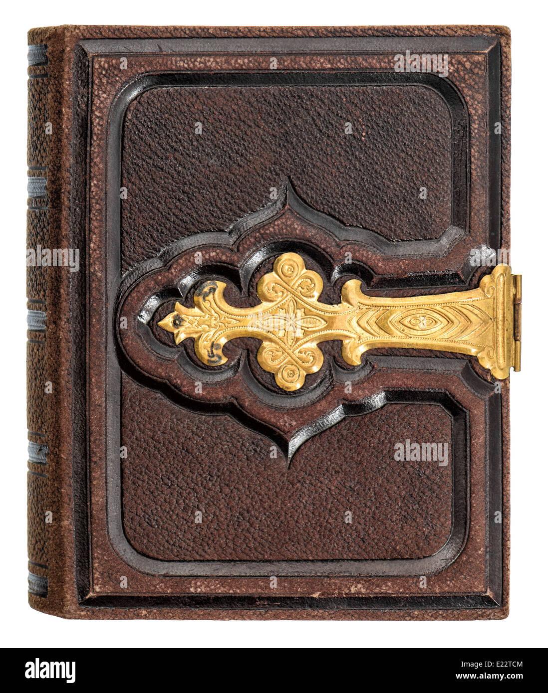 Livre Ancien Avec Couverture En Cuir Et Decoration Or Isole