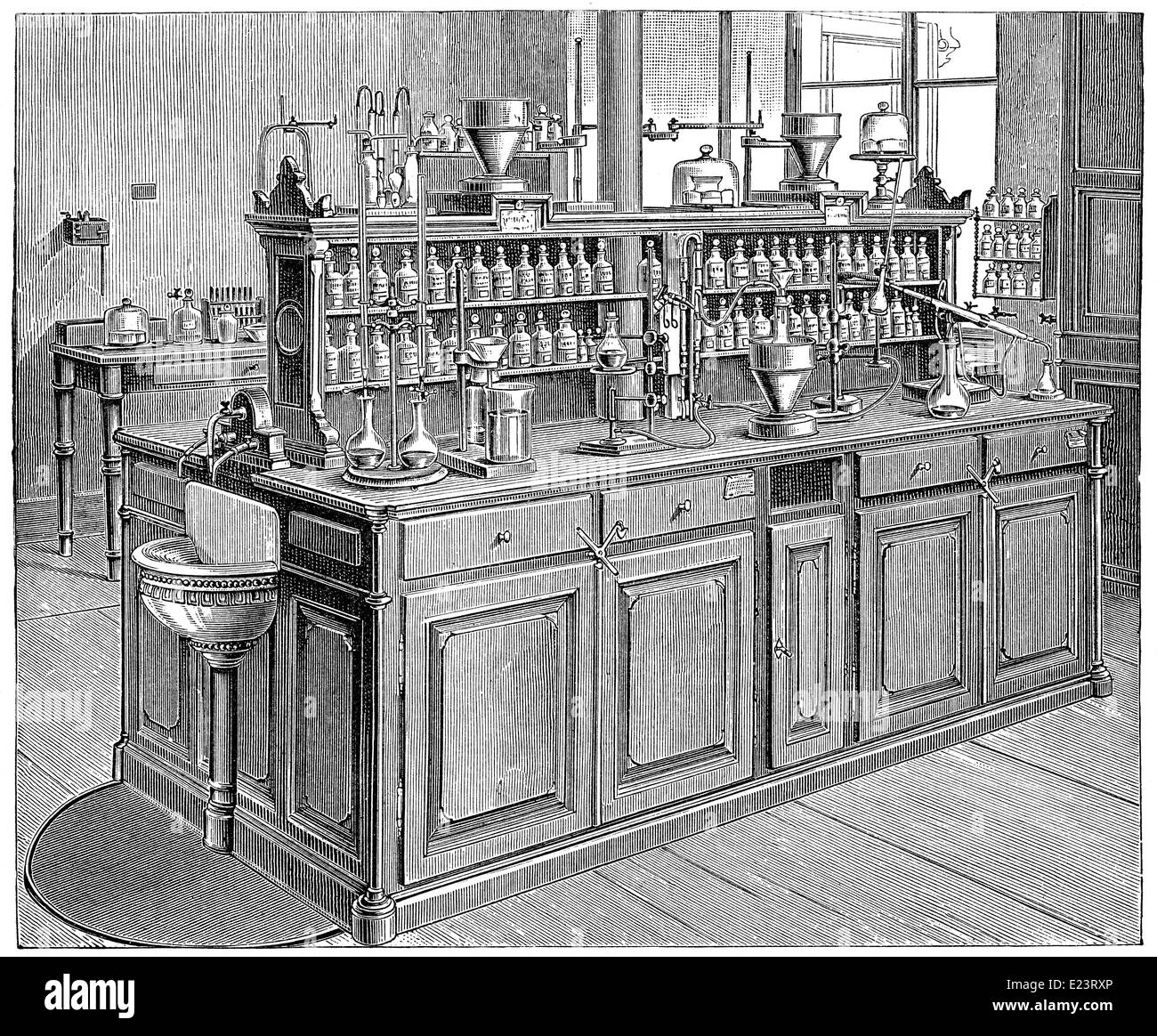 Laboratoire de Chimie, 1886, Université de Leipzig, Allemagne Photo Stock