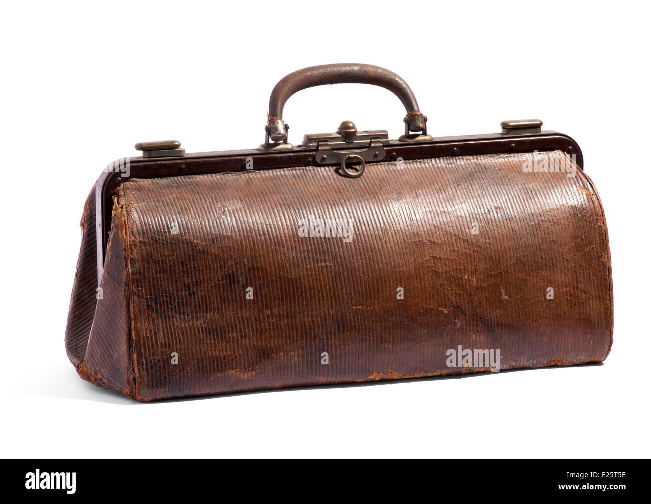 Old brown sac fourre-tout ou les médecins Photo Stock