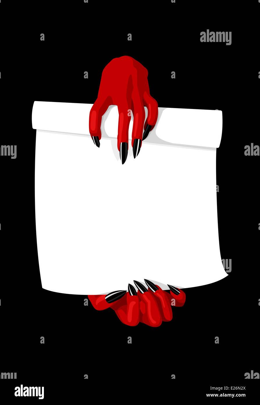 illustration vecteur de devil hands holding contrat pacte avec le diable concept banque d. Black Bedroom Furniture Sets. Home Design Ideas