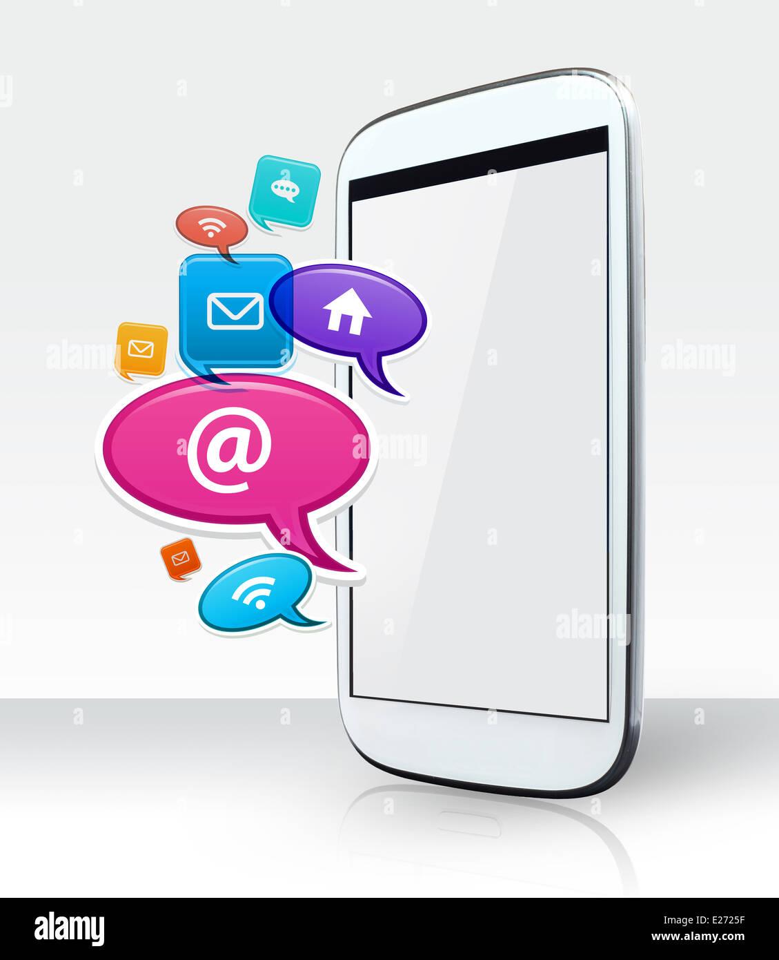 Photo du smartphone et icônes app. Apps est un morceau de logiciel. Il peut fonctionner sur l'Internet, Photo Stock