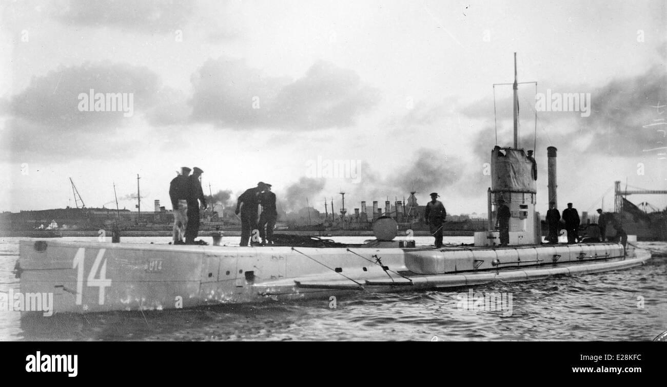Le U-boot allemand U-14 sous-marin qui a servi dans la Première Guerre mondiale Photo Stock