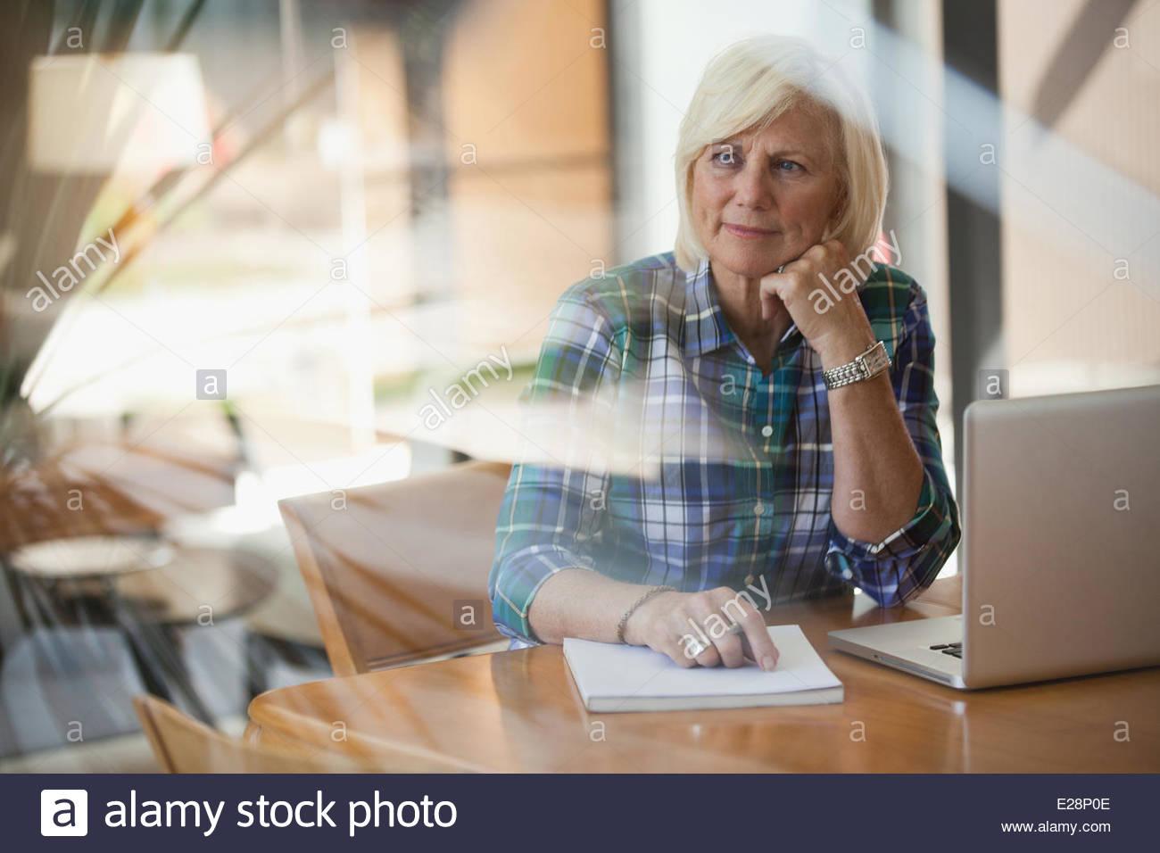 Femme plus âgée à l'aide d'ordinateur portable à l'intérieur Photo Stock