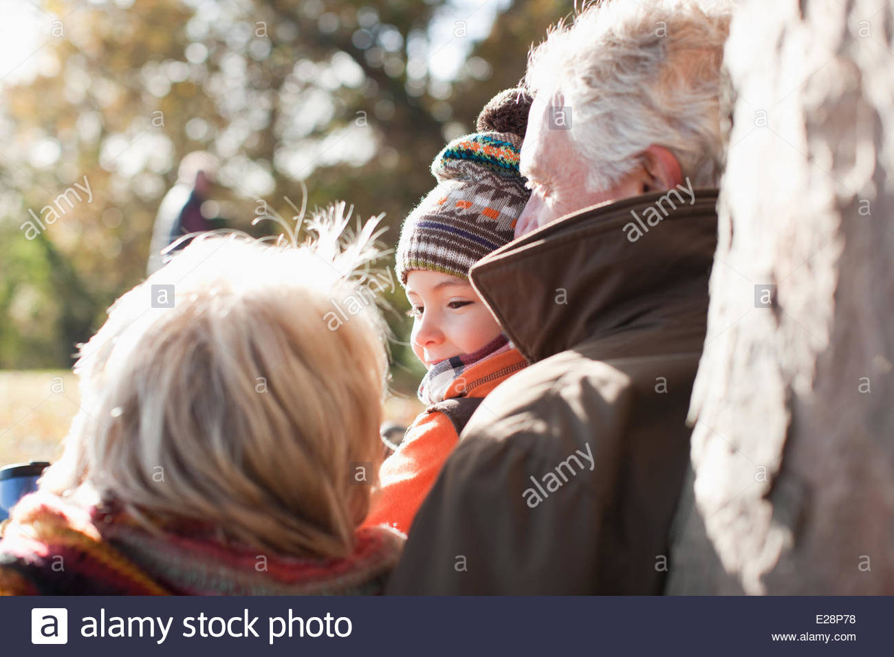 Les grands-parents leaning against tree trunk Photo Stock