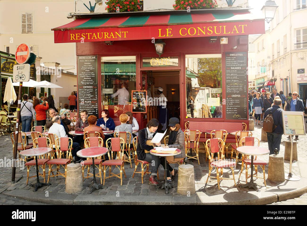 Bar Restaurant à Montmartre, Paris, France Photo Stock