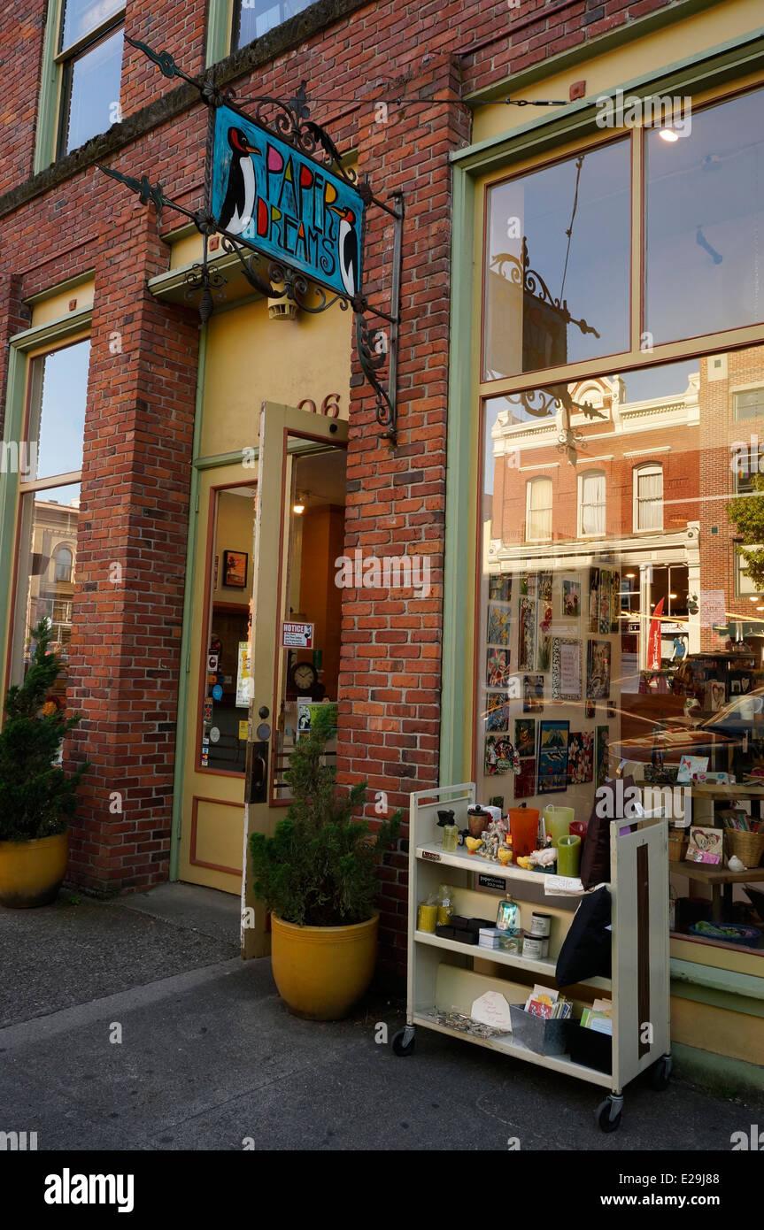 Carte de rêves de Papier et papeterie, Fairhaven Quartier historique de Bellingham, Washington State, USA Photo Stock