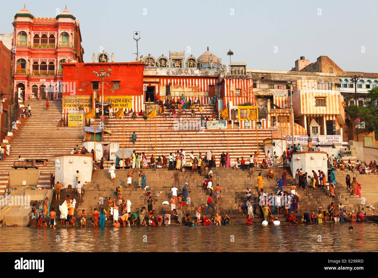 L'Inde, Uttar Pradesh State, Varanasi, Kedar Ghat Photo Stock
