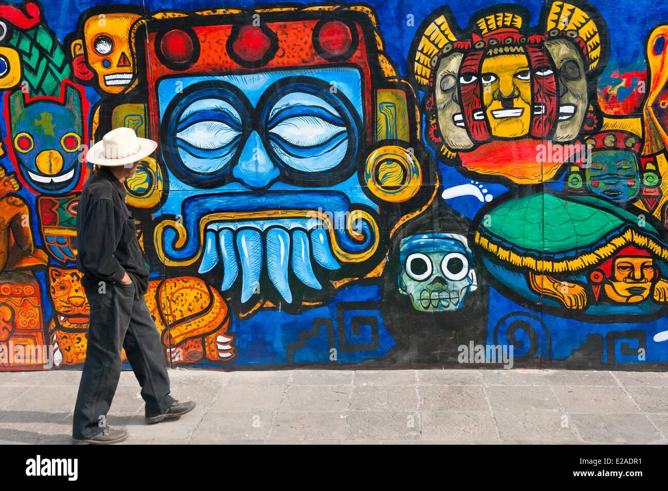 Mexico, District Fédéral, Mexico, fresque dans centre historique classé au Patrimoine Mondial par Photo Stock