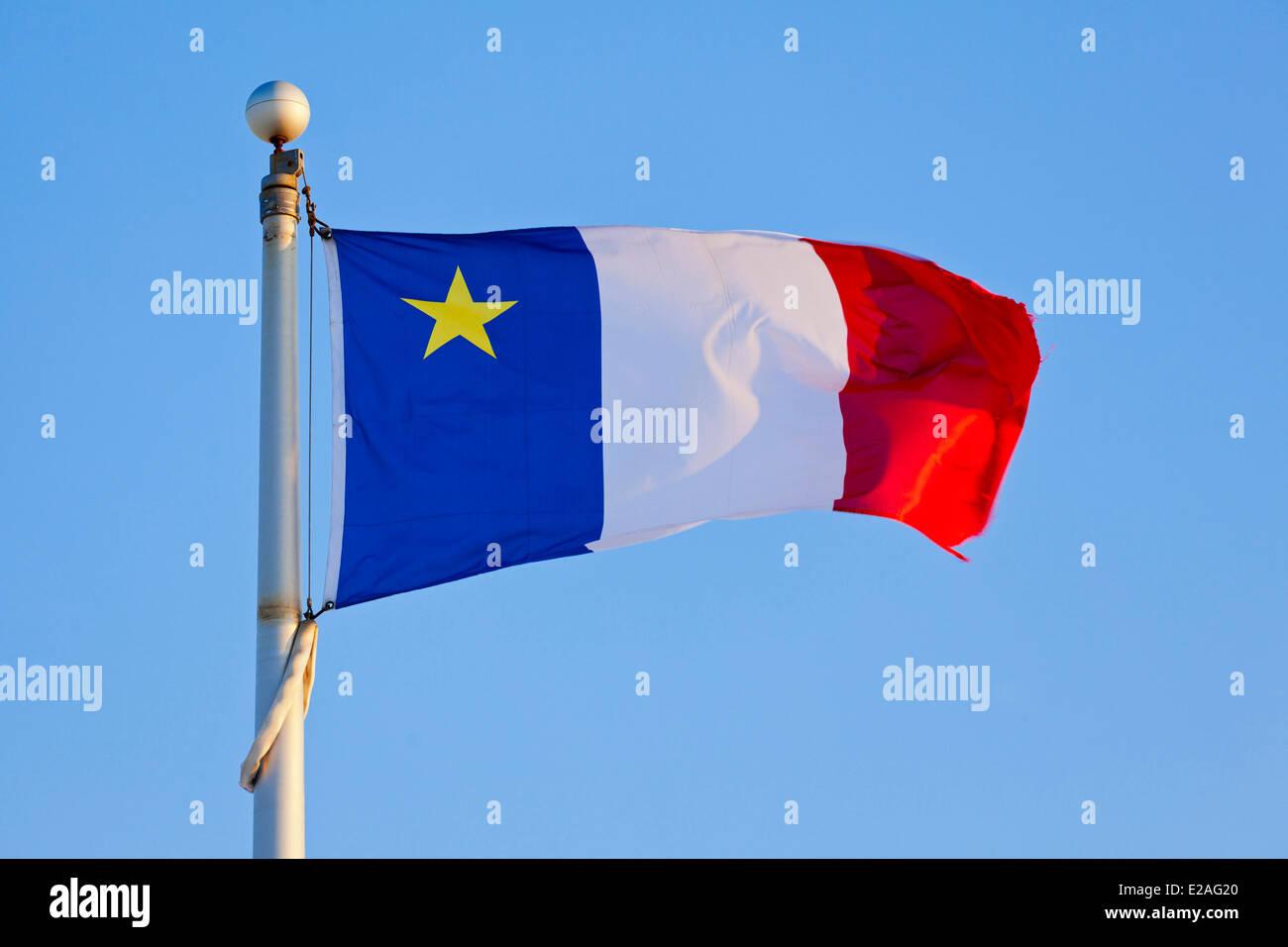 Canada, Province du Nouveau-Brunswick, le drapeau acadien Photo Stock
