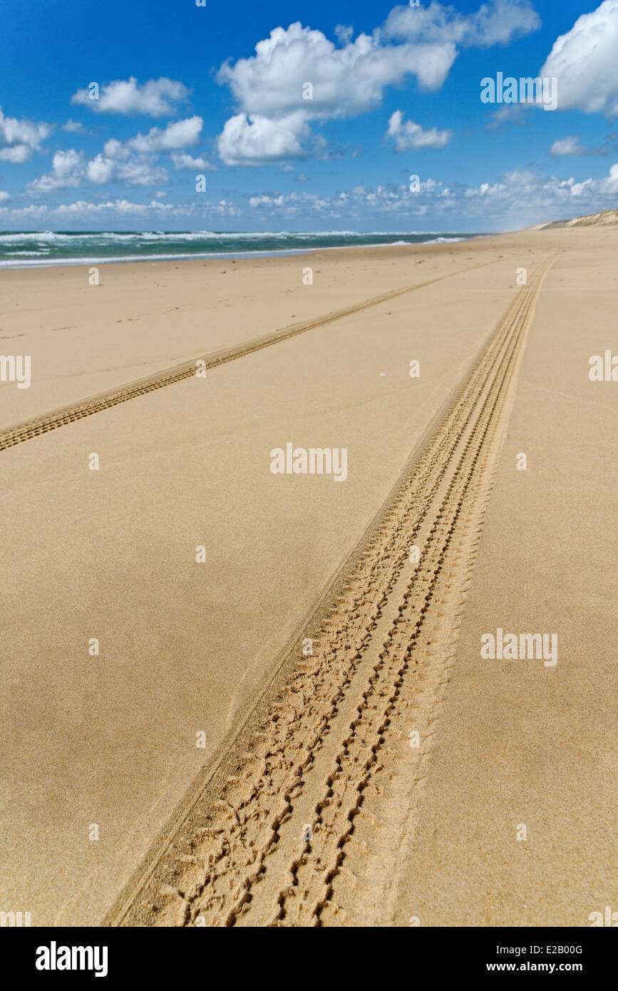 France, Gironde, Arcachon, Cap Ferret, Plage de l'Horizon, car les traces de pneus dans le sable d'une plage Photo Stock