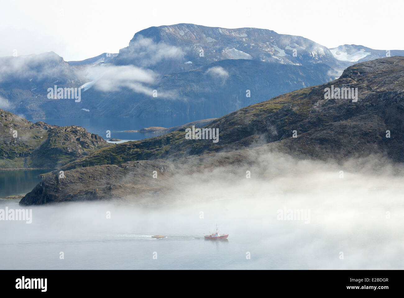 Le Groenland, fjord Upernavik, bateau de pêche Photo Stock