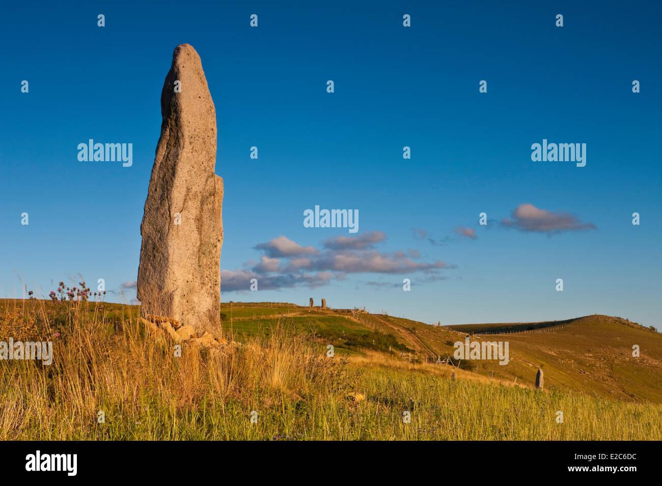 La France, la Lozère, les Causses et les Cévennes, Cham Bondons, plateau calcaire, Trail Menhirs Photo Stock