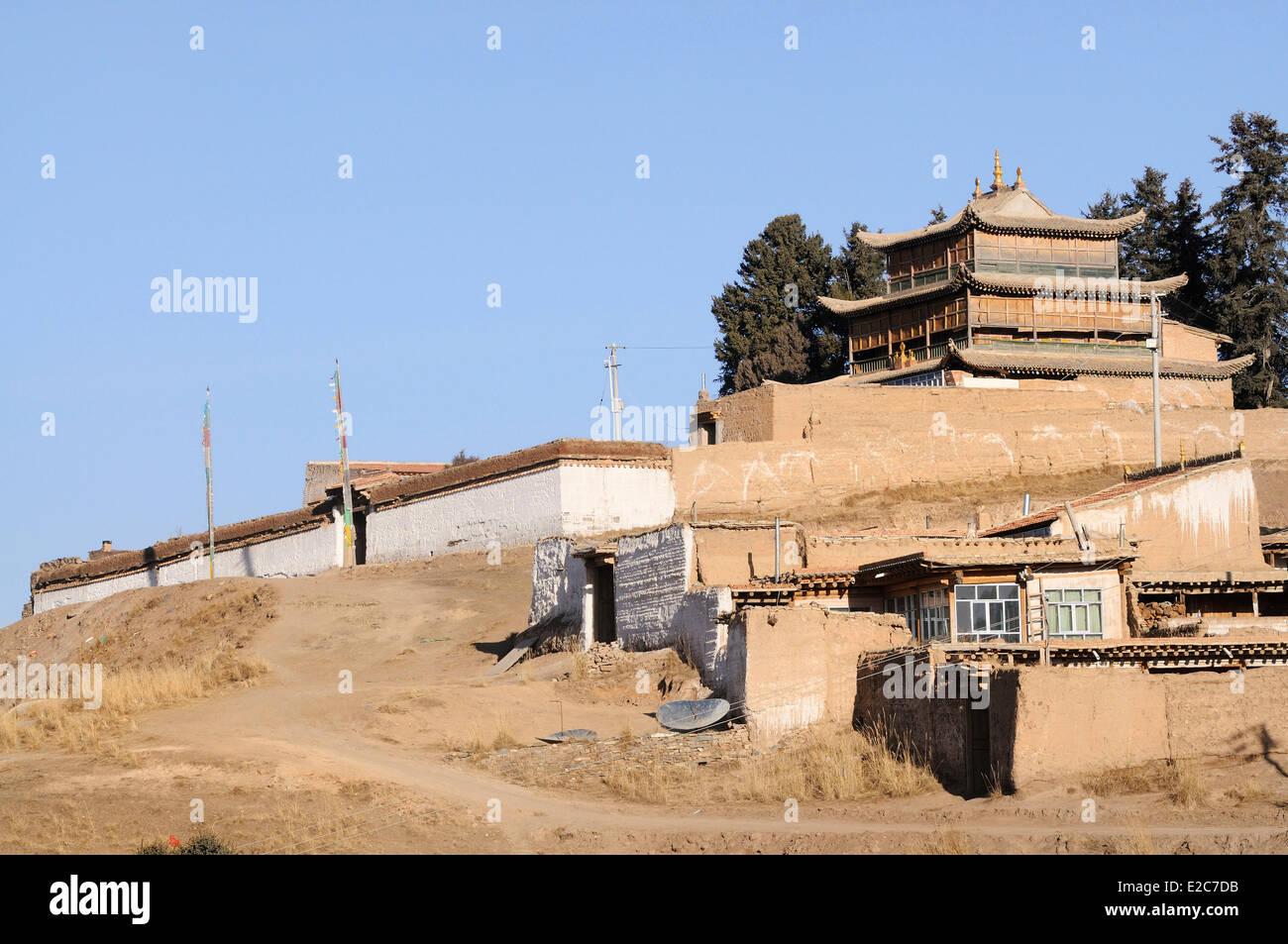 La Chine, la Province de Qinghai, Amdo, Tongren (Rebkong) comté, Tashi Kyil monastery Photo Stock