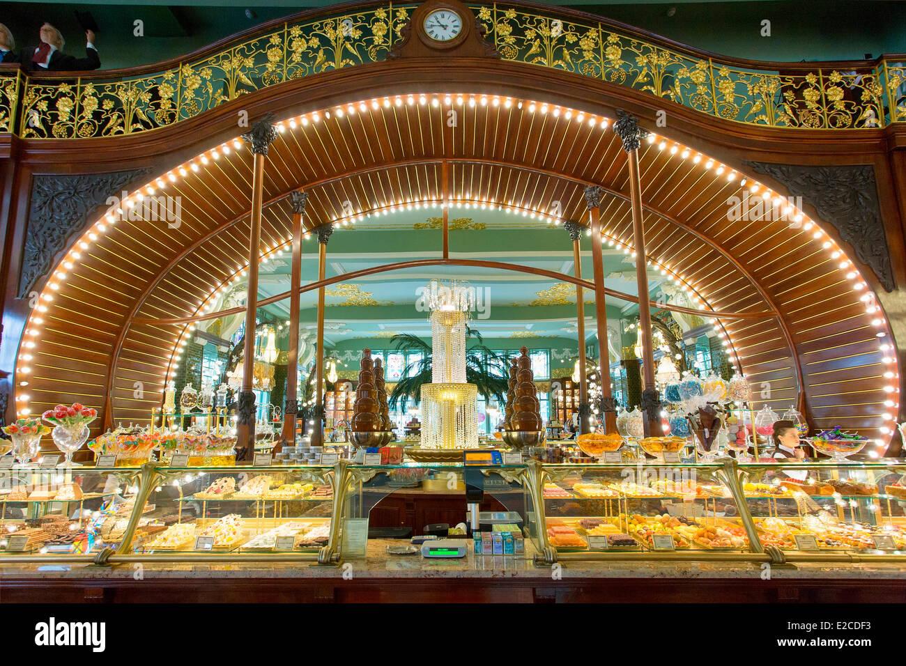 La Russie, Saint-Pétersbourg, inscrite au Patrimoine Mondial de l'UNESCO, magasin historique Yeliseyevsky Photo Stock