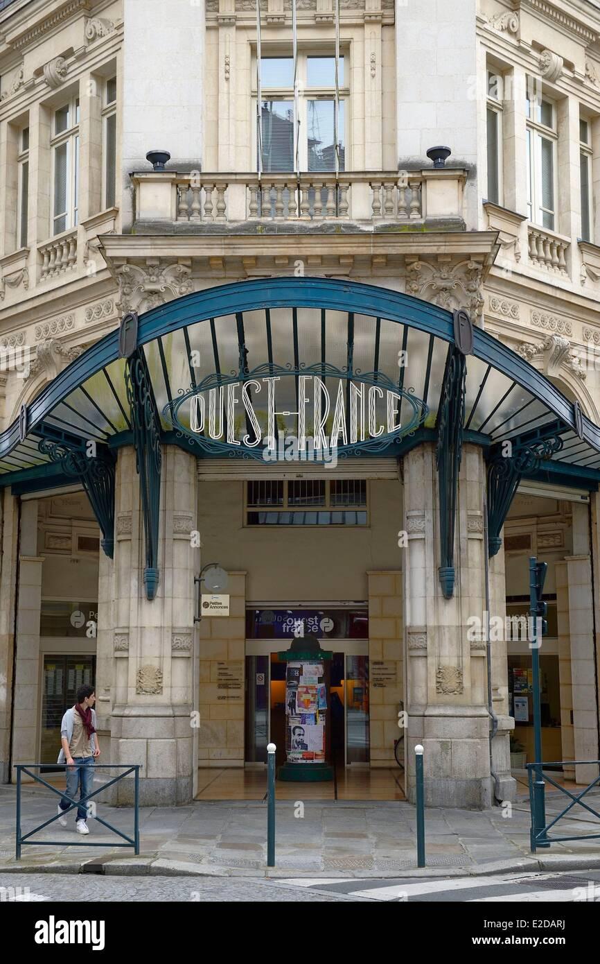 La France, de l'Ille et Vilaine, Rennes, l'ancien bureau de la rédaction du journal Ouest France Photo Stock
